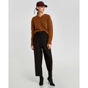 • Zara Black Wide Leg Trousers With Belt Pants •